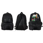 "18"" Wholesale Backpack All Black with Organizer $7.75 Each"