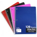 Wholesale 3 Subject CR Spiral Notebook $1.29 Each.