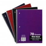 Wide Ruled Spiral Notebook at $0.70 Each.
