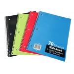 70 Sheet Spiral Notebooks Wide Ruled